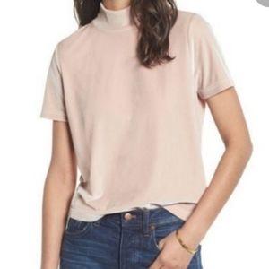 Madewell Mockneck Velour Short Sleeve Blush Tan/Pink Boxy Style Top Size M